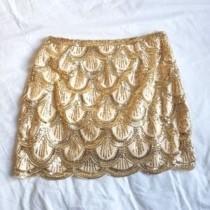 TOBI Gold Skirt